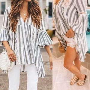 CHARLIE Striped Bell Sleeve Tunic top